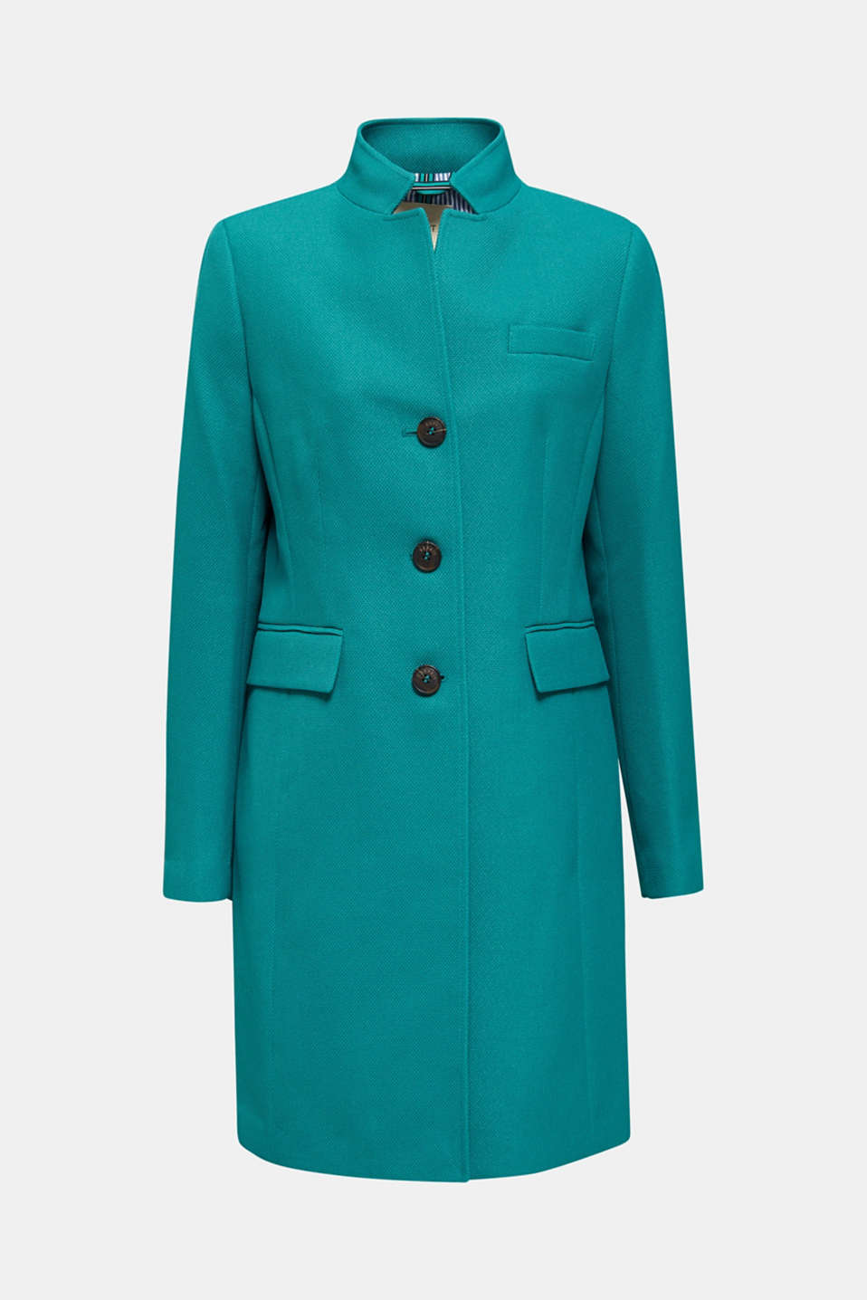 Piqué coat with stretch, TEAL GREEN, detail image number 5
