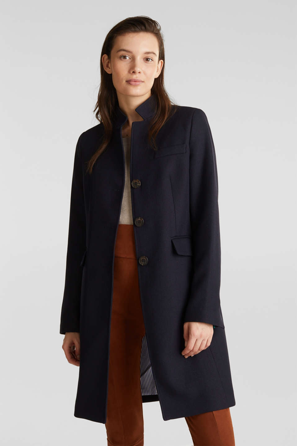 Piqué coat with stretch, NAVY, detail image number 0