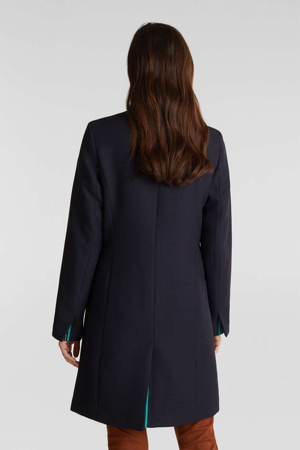 Piqué coat with stretch, NAVY, detail image number 3