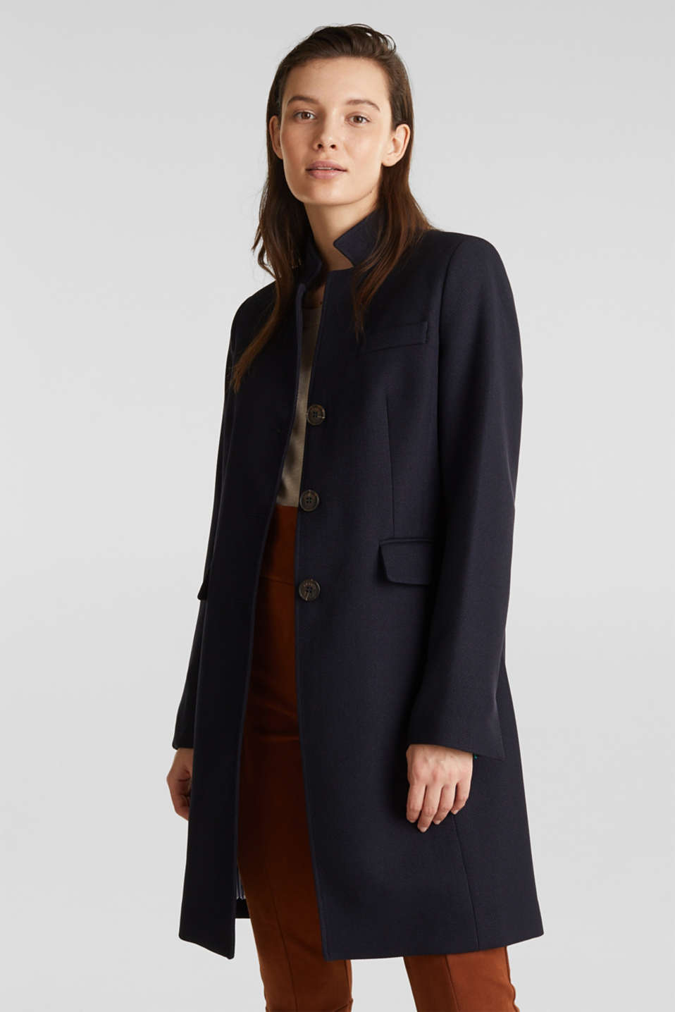 Piqué coat with stretch, NAVY, detail image number 6