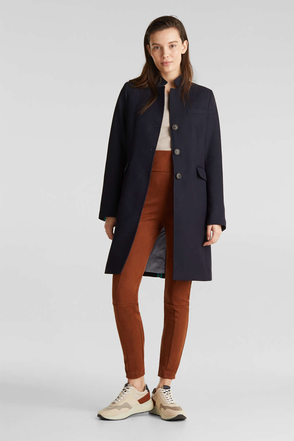 Piqué coat with stretch, NAVY, detail image number 1