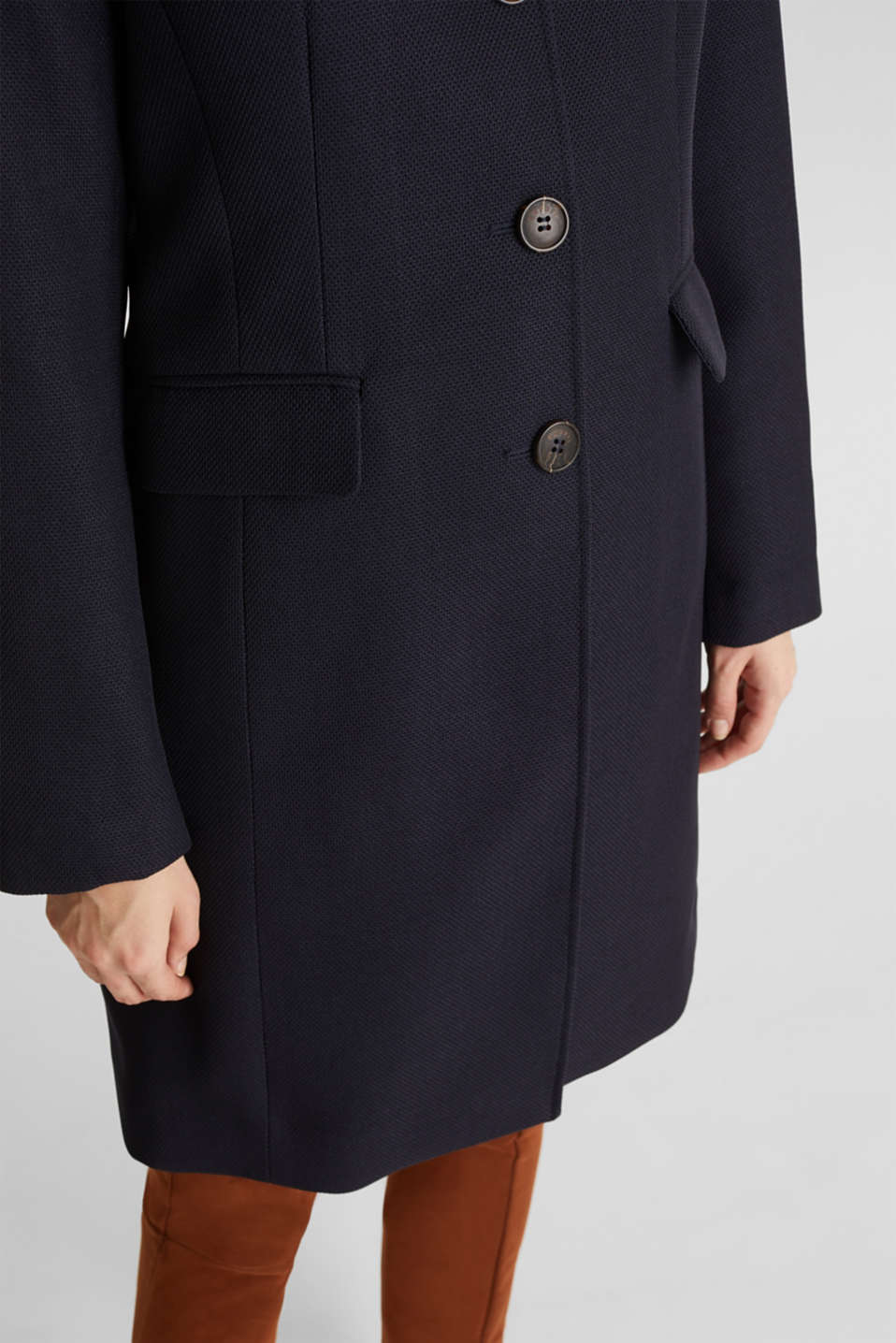 Piqué coat with stretch, NAVY, detail image number 2