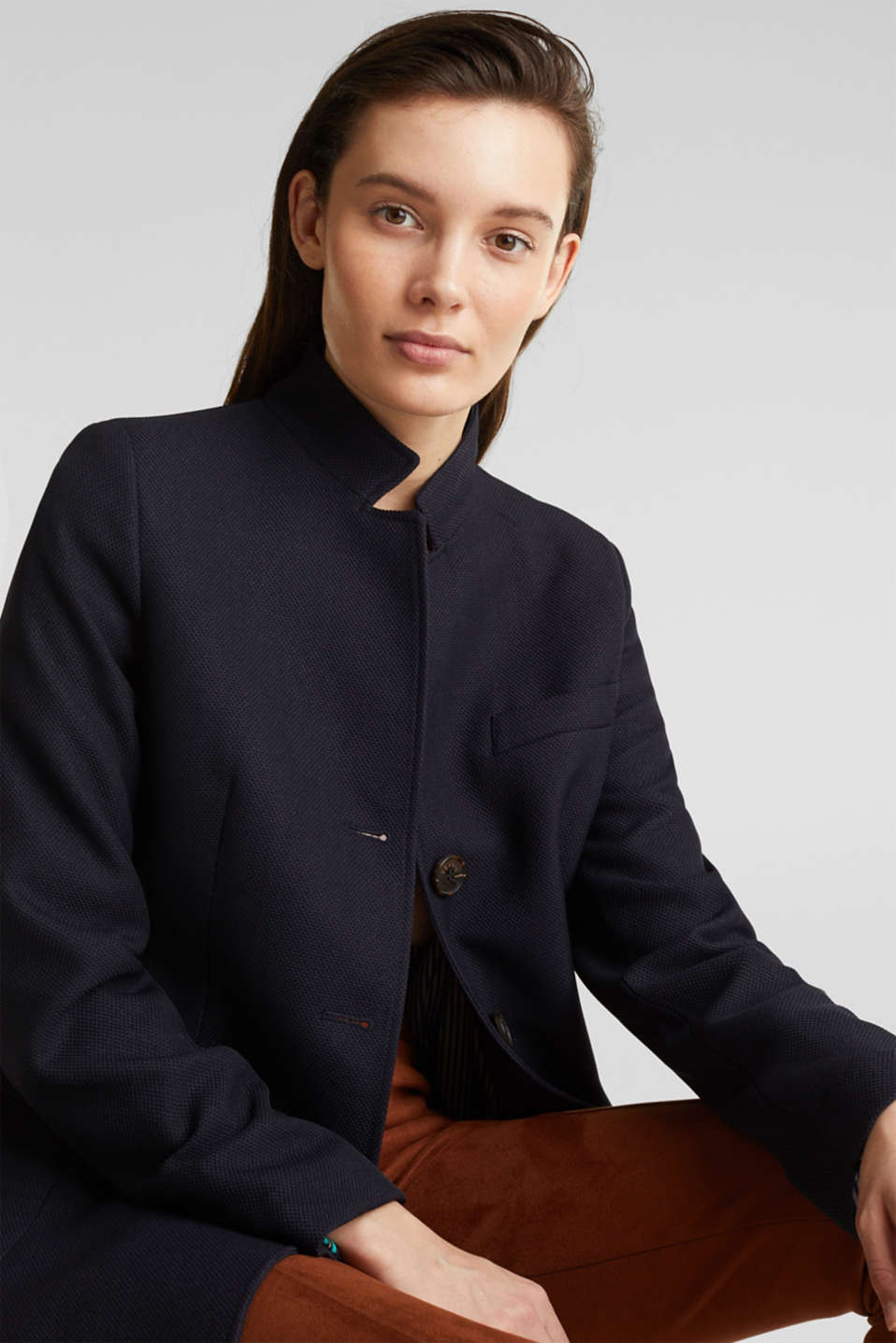 Piqué coat with stretch, NAVY, detail image number 7