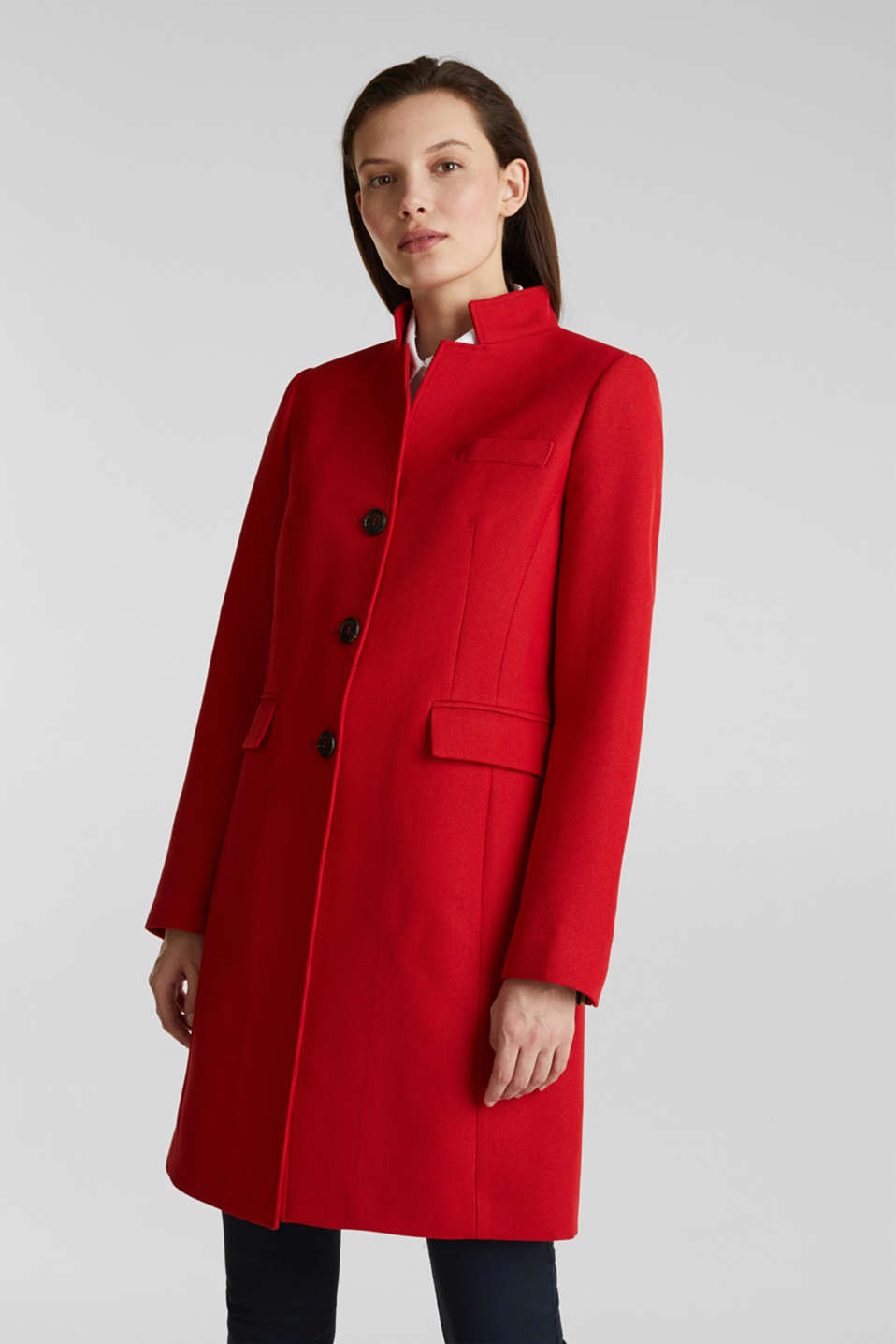 Esprit - Piqué coat with stretch