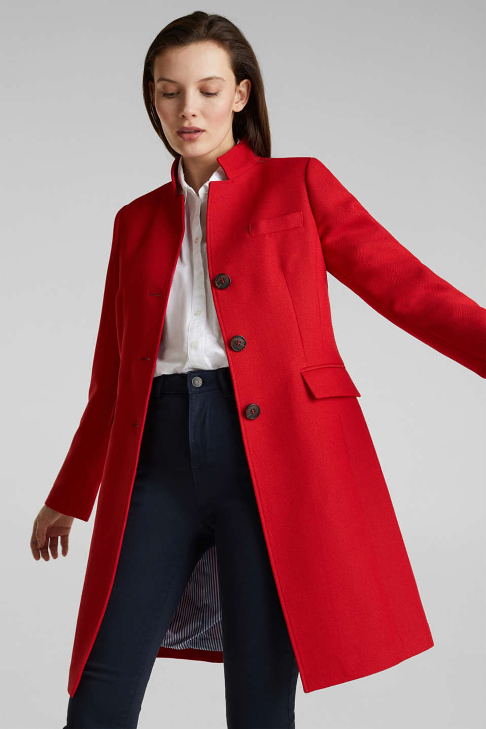 Piqué coat with stretch, DARK RED, detail image number 6