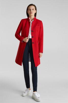 Piqué coat with stretch, DARK RED, detail