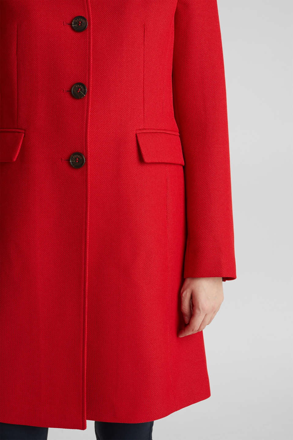 Piqué coat with stretch, DARK RED, detail image number 5