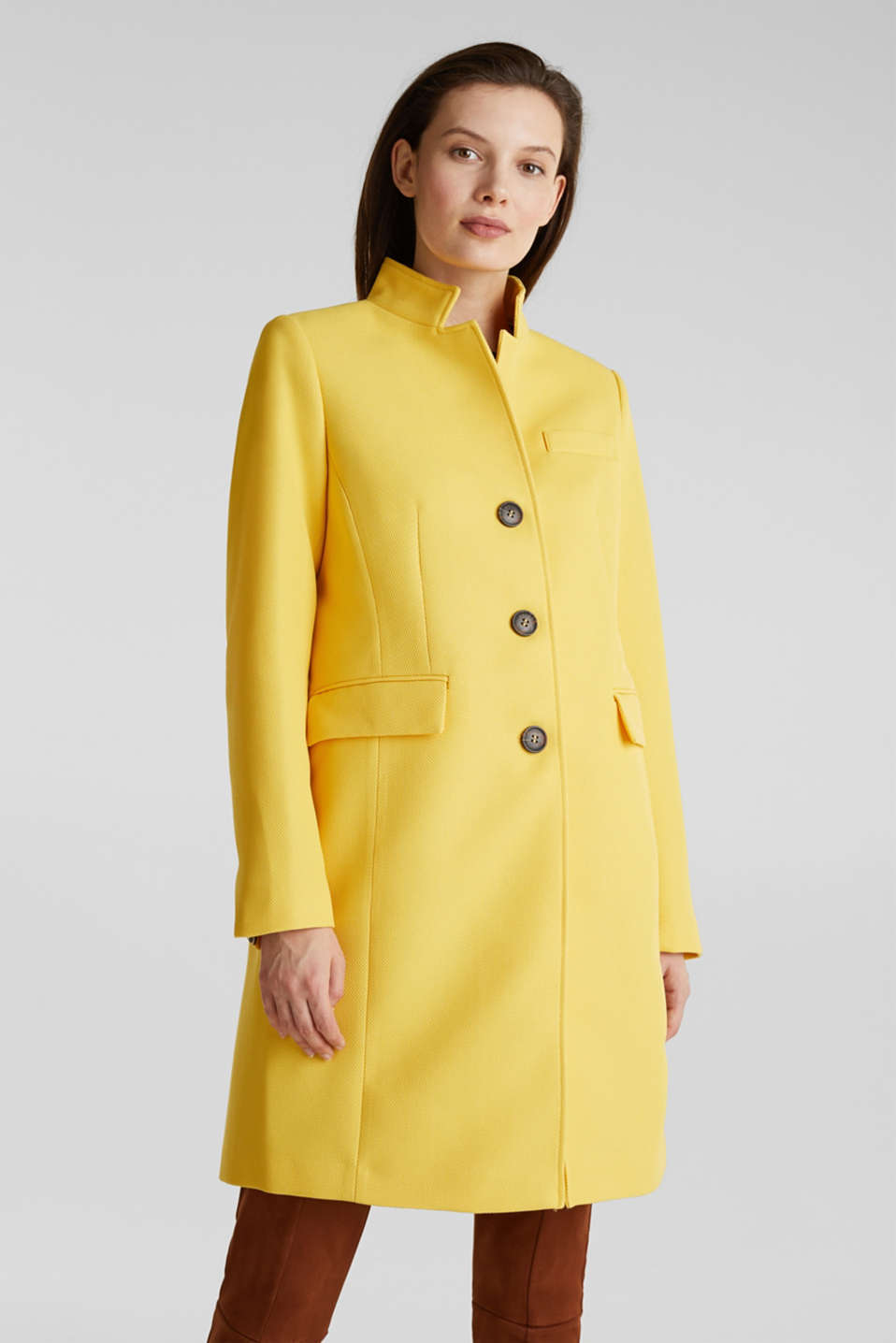 Piqué coat with stretch, YELLOW, detail image number 0