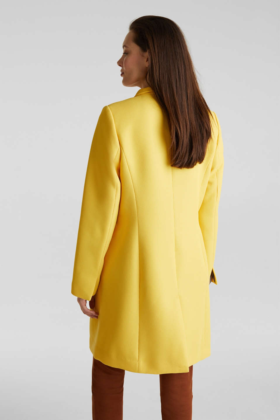 Piqué coat with stretch, YELLOW, detail image number 3