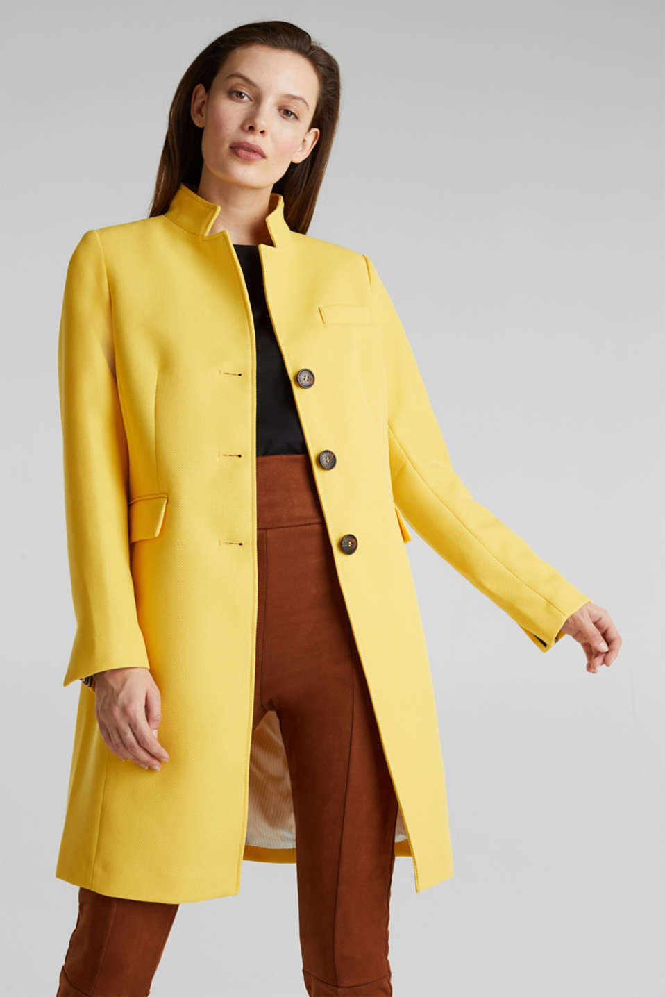 Piqué coat with stretch, YELLOW, detail image number 6