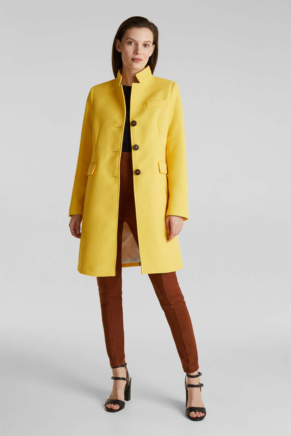 Piqué coat with stretch, YELLOW, detail image number 1