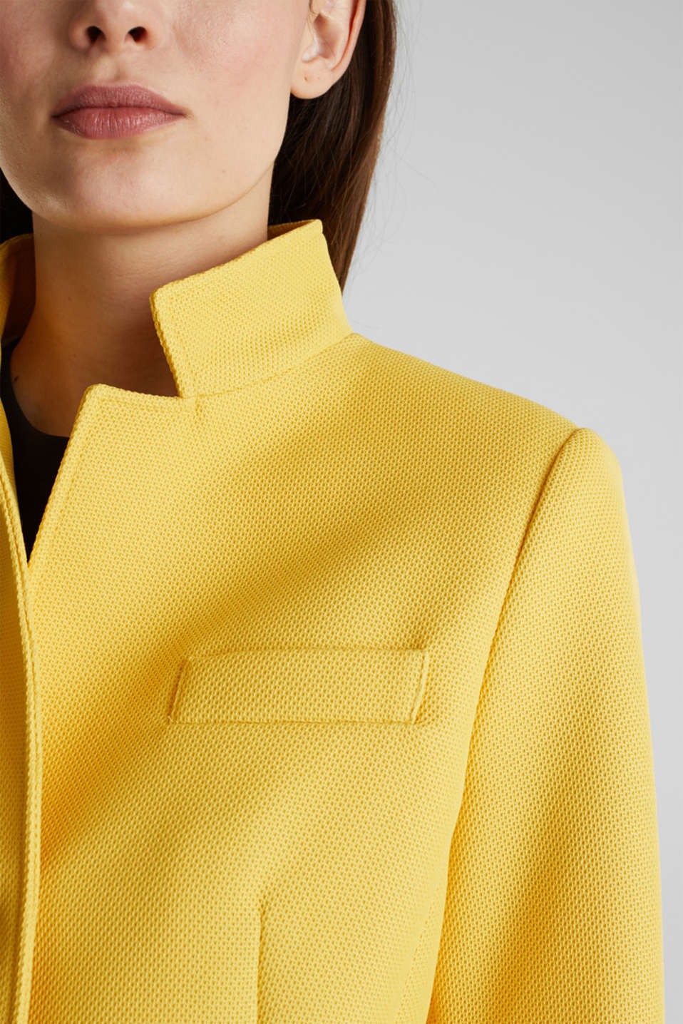 Piqué coat with stretch, YELLOW, detail image number 2