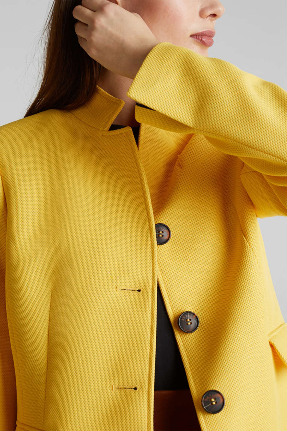 Piqué coat with stretch, YELLOW, detail image number 5