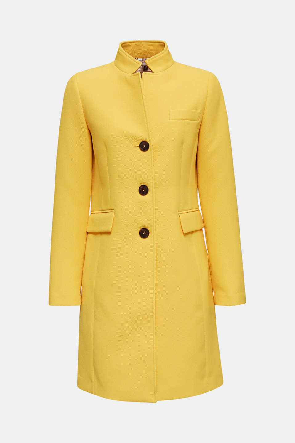Piqué coat with stretch, YELLOW, detail image number 7