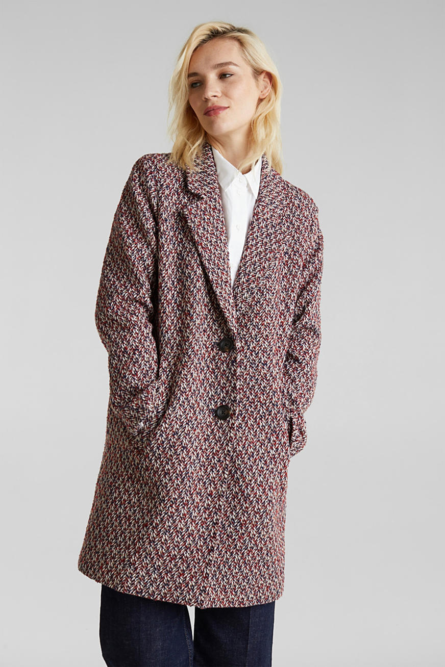 With wool: textured multi-colour coat