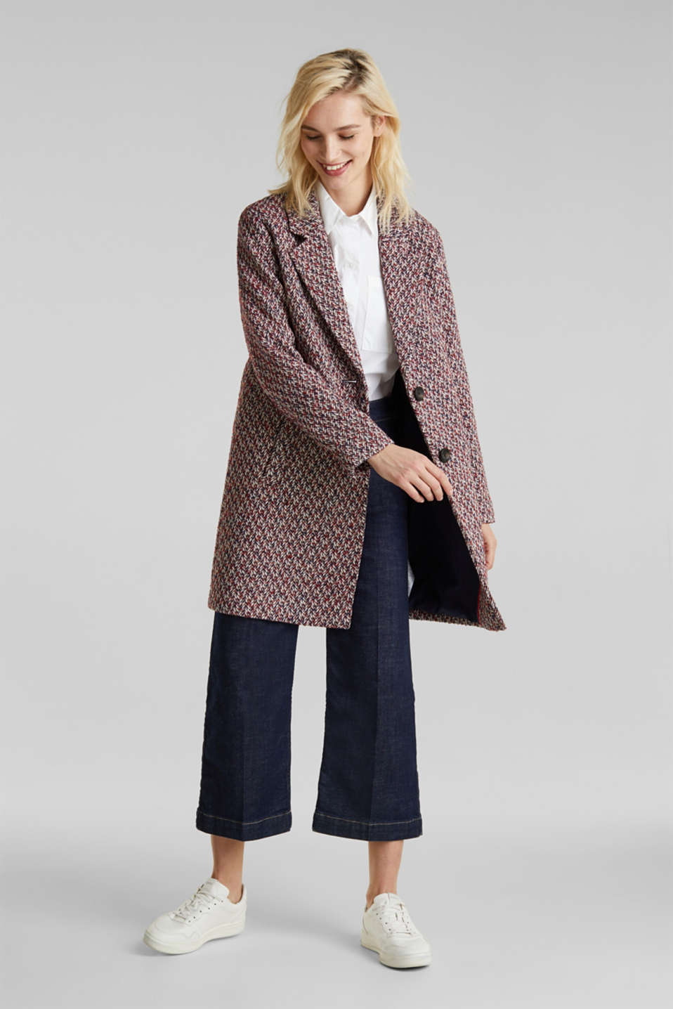 With wool: textured multi-colour coat, DARK BLUE, detail