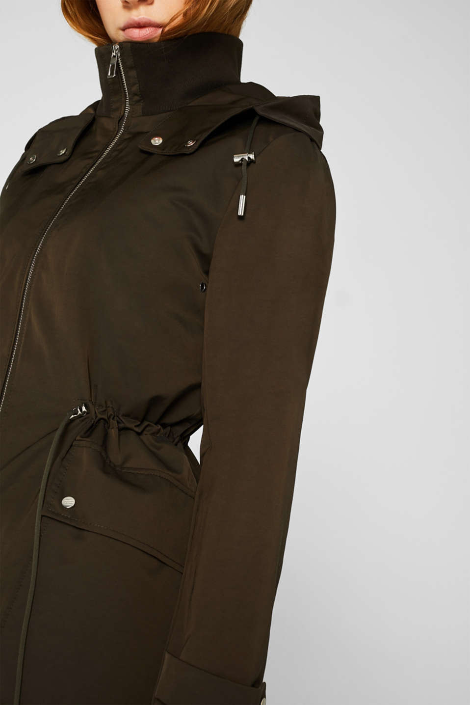 Hooded parka with padding, DARK KHAKI, detail image number 2