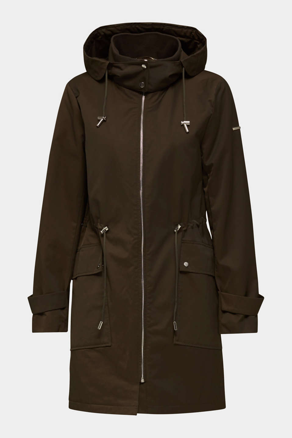 Hooded parka with padding, DARK KHAKI, detail image number 7