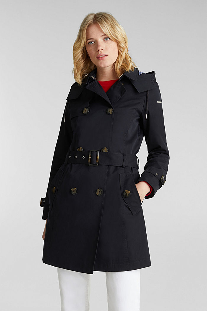Trenchcoat mit variabler Kapuze, BLACK, detail image number 0