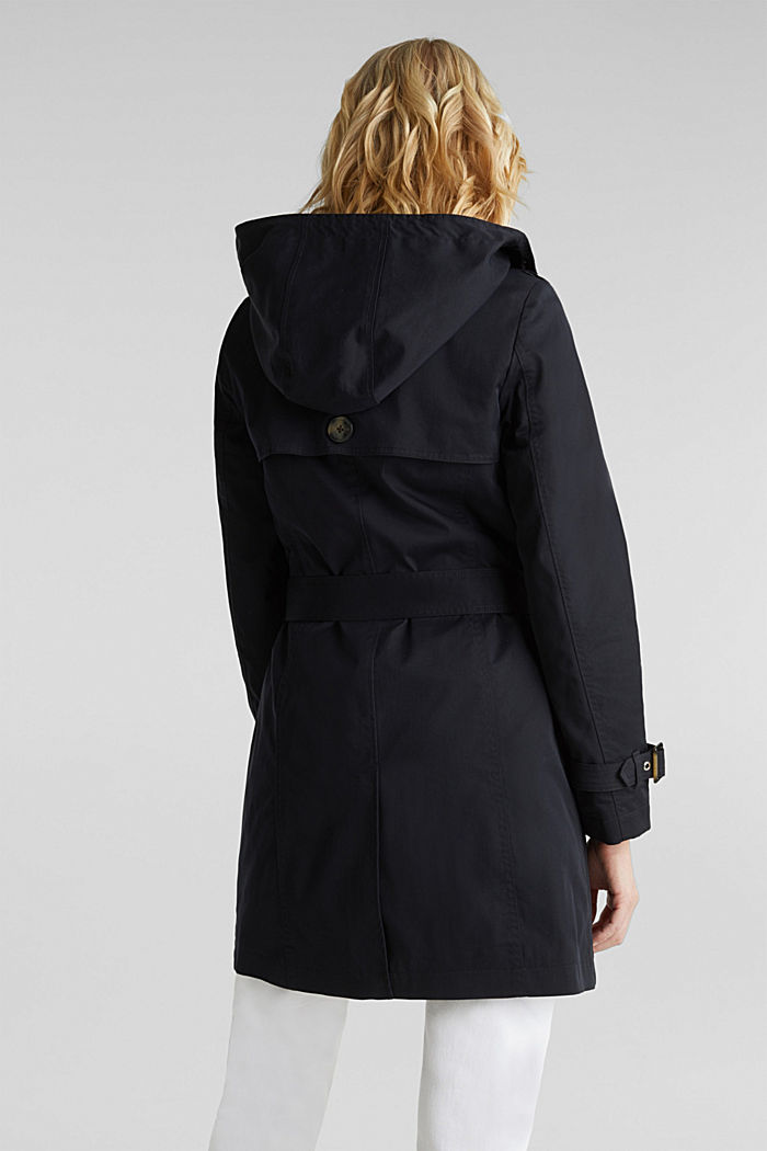 Trenchcoat mit variabler Kapuze, BLACK, detail image number 3