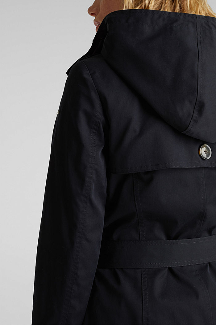Trenchcoat mit variabler Kapuze, BLACK, detail image number 6