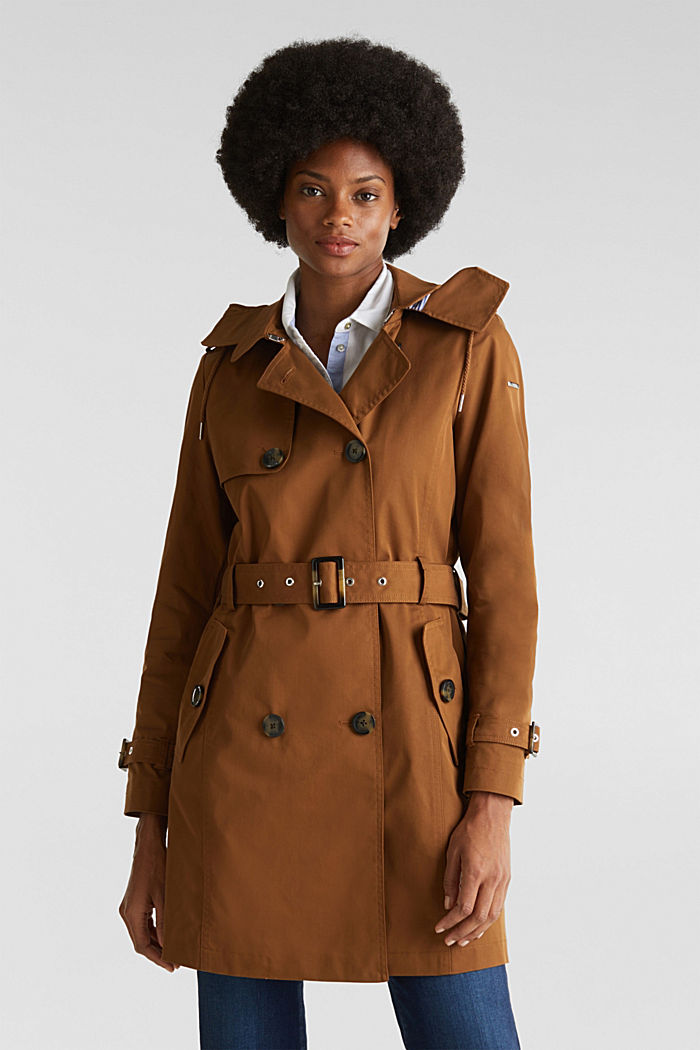 Trench coat with an adjustable hood, TOFFEE, detail image number 0