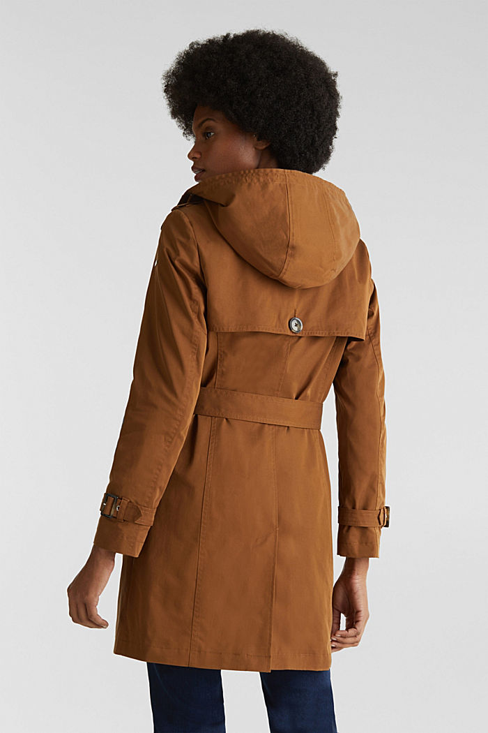 Trench coat with an adjustable hood, TOFFEE, detail image number 3