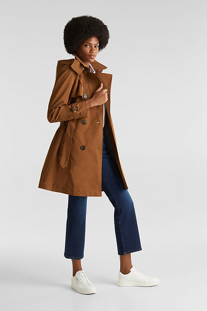 Trench coat with an adjustable hood, TOFFEE, detail image number 1