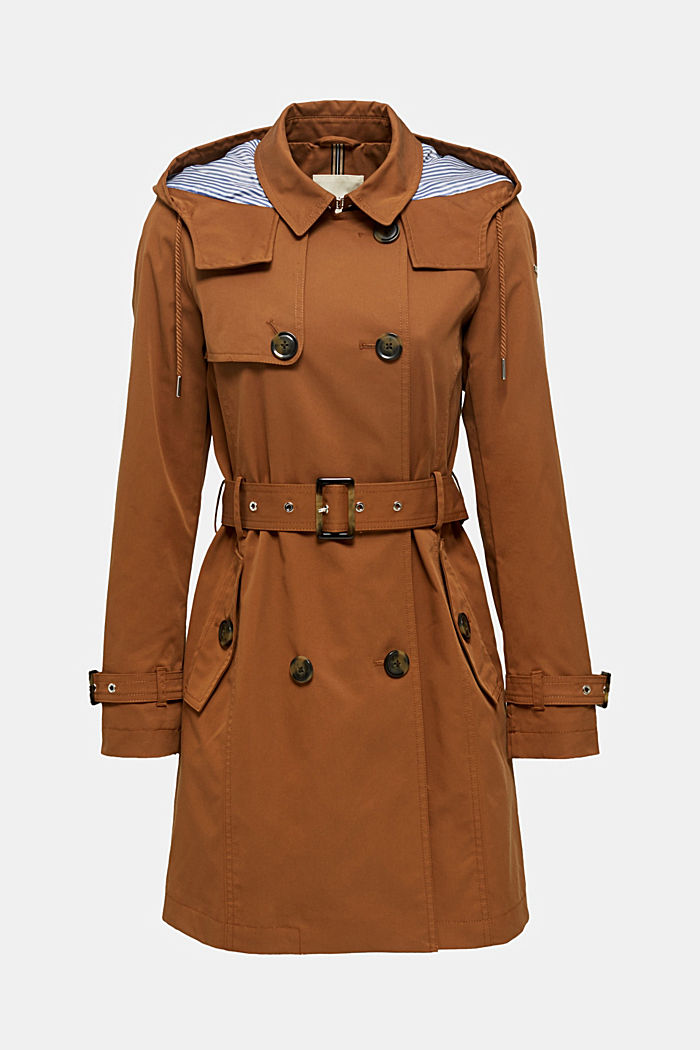 Trench coat with an adjustable hood, TOFFEE, detail image number 5