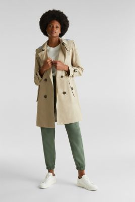 Trench coat with an adjustable hood, BEIGE, detail