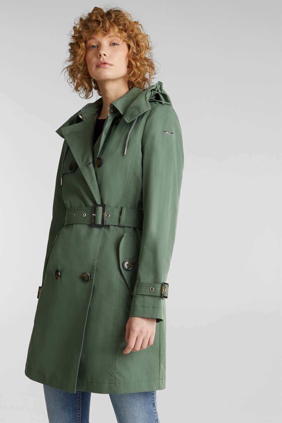 Trench coat with an adjustable hood, KHAKI GREEN, detail image number 6
