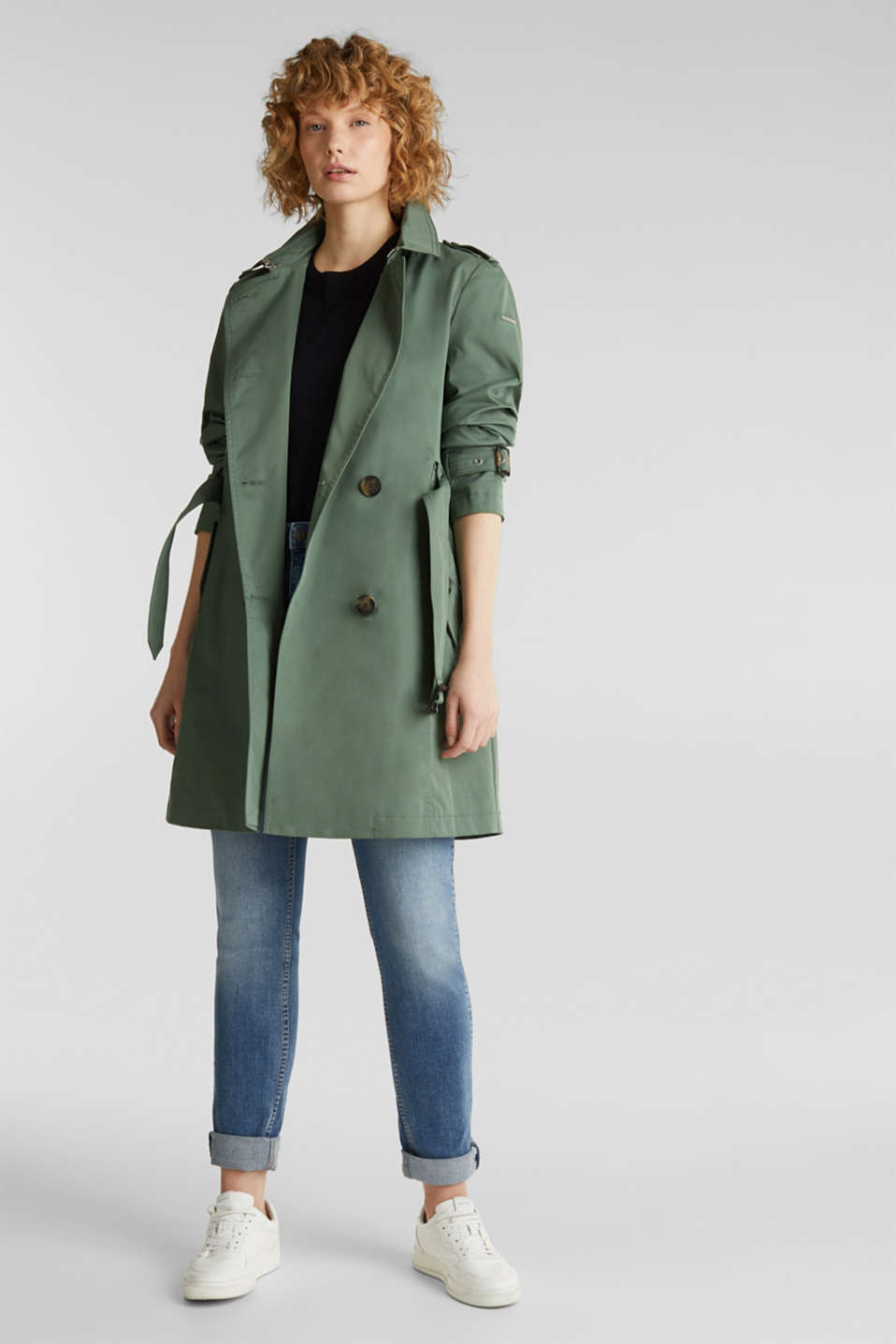 Trench coat with an adjustable hood, KHAKI GREEN, detail