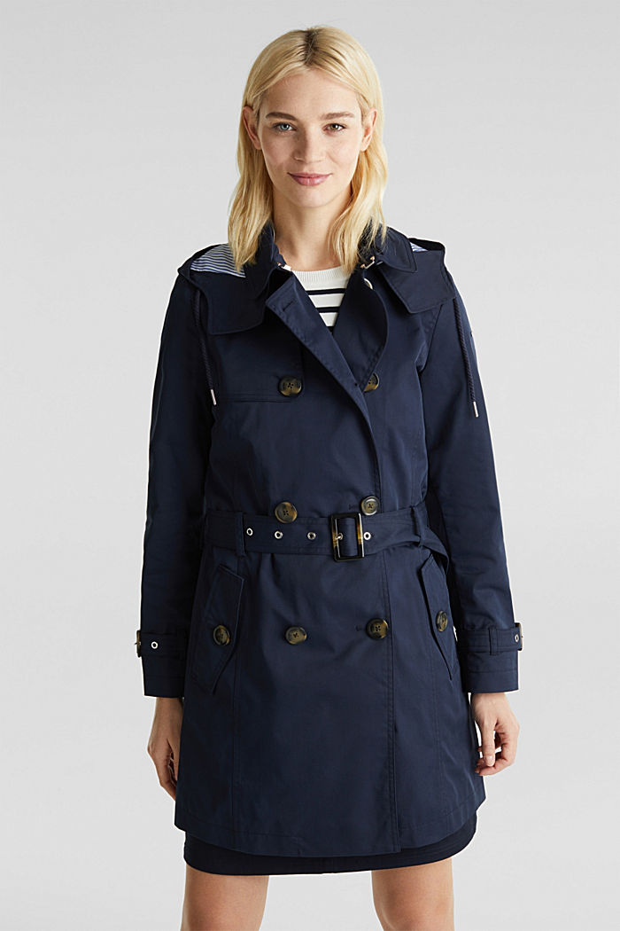 Trenchcoat mit variabler Kapuze, NAVY, detail image number 0