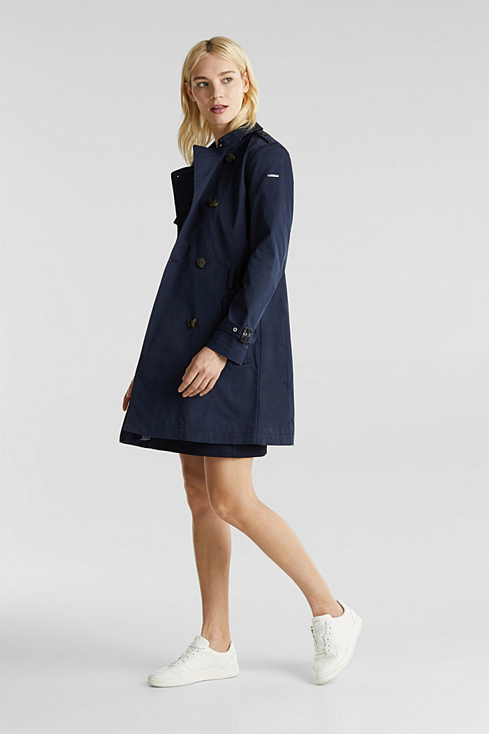Trenchcoat mit variabler Kapuze, NAVY, detail image number 5