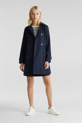 Trench coat with an adjustable hood, NAVY, detail