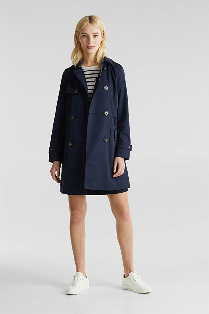 Trenchcoat mit variabler Kapuze, NAVY, detail image number 1
