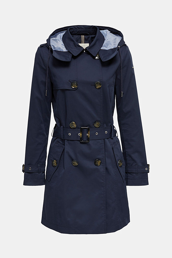 Trenchcoat mit variabler Kapuze, NAVY, detail image number 8