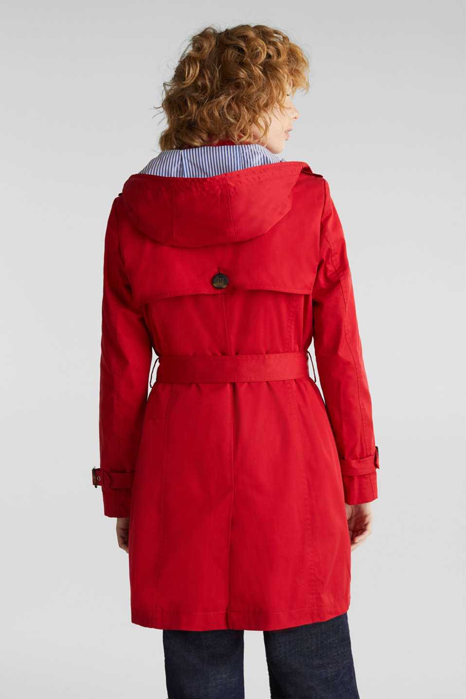 Trench coat with an adjustable hood, DARK RED, detail image number 3