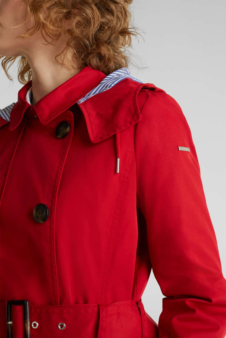 Trench coat with an adjustable hood, DARK RED, detail image number 2