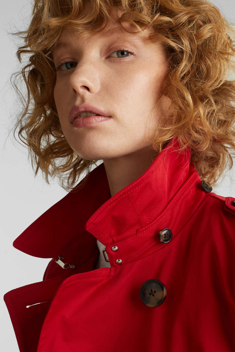 Trench coat with an adjustable hood, DARK RED, detail image number 7