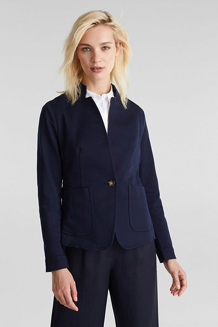 Blazer with an adjustable collar, stretch cotton, NAVY, detail image number 0