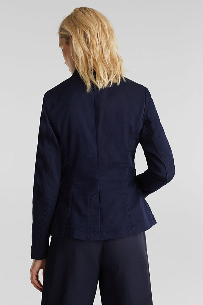 Blazer with an adjustable collar, stretch cotton, NAVY, detail image number 3