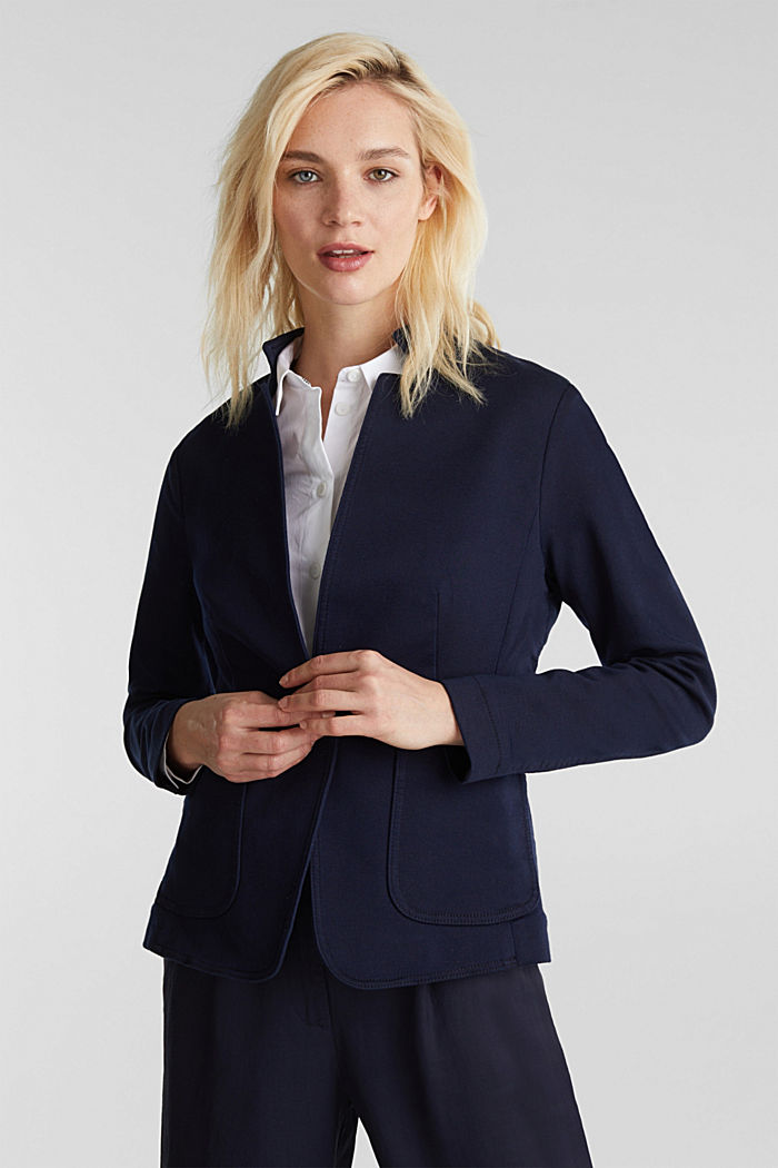 Blazer with an adjustable collar, stretch cotton, NAVY, detail image number 6