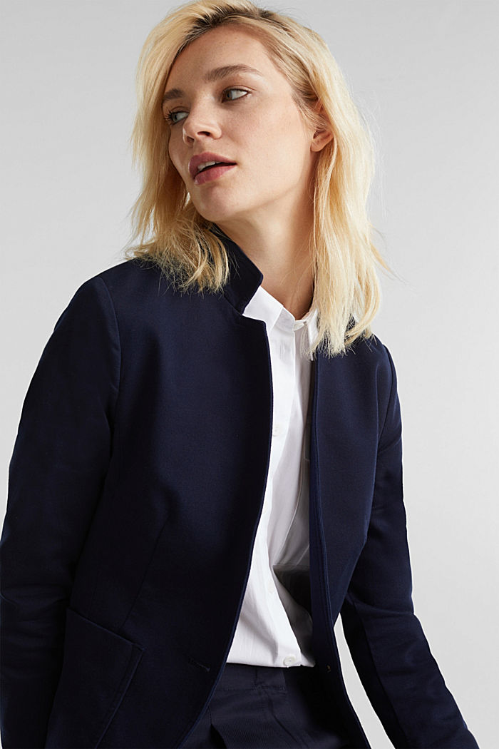 Blazer with an adjustable collar, stretch cotton, NAVY, detail image number 2
