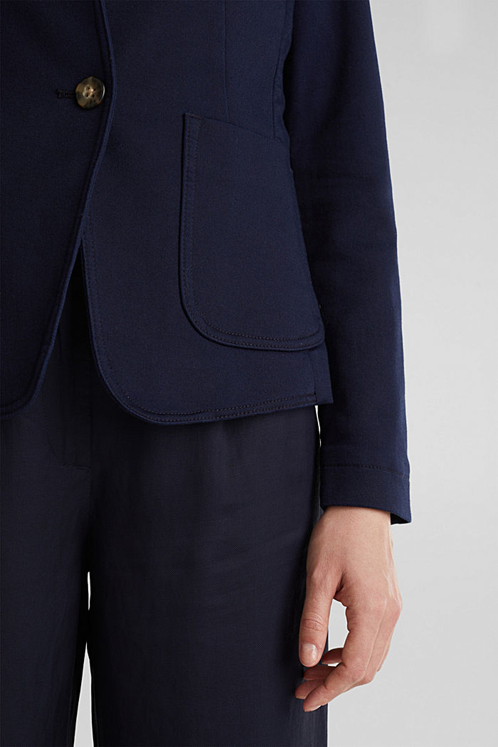 Blazer with an adjustable collar, stretch cotton, NAVY, detail image number 5