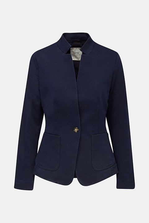 Blazer with an adjustable collar, stretch cotton