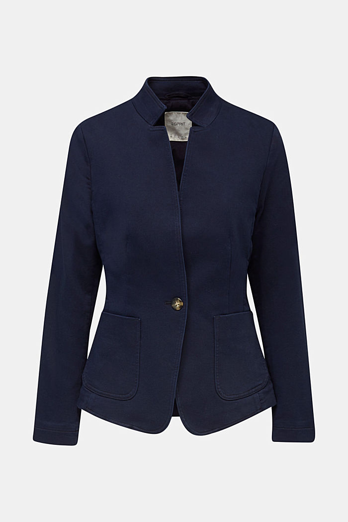 Blazer with an adjustable collar, stretch cotton, NAVY, detail image number 7