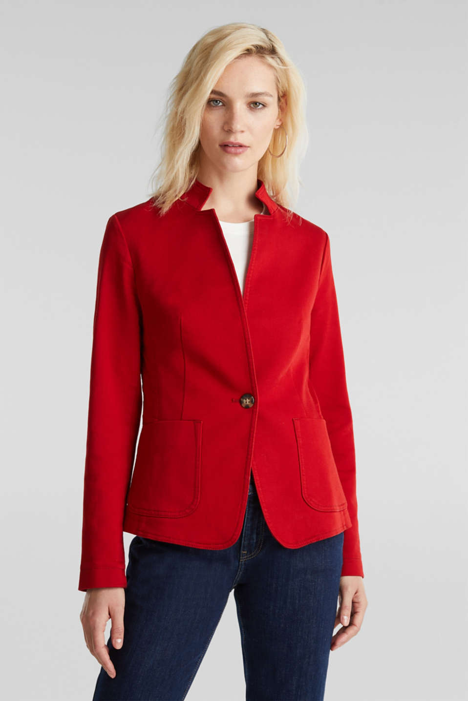 Esprit - Blazer with an adjustable collar, stretch cotton