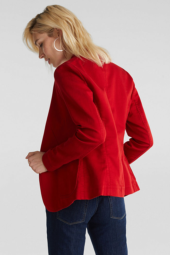 Blazer with an adjustable collar, stretch cotton, DARK RED, detail image number 2