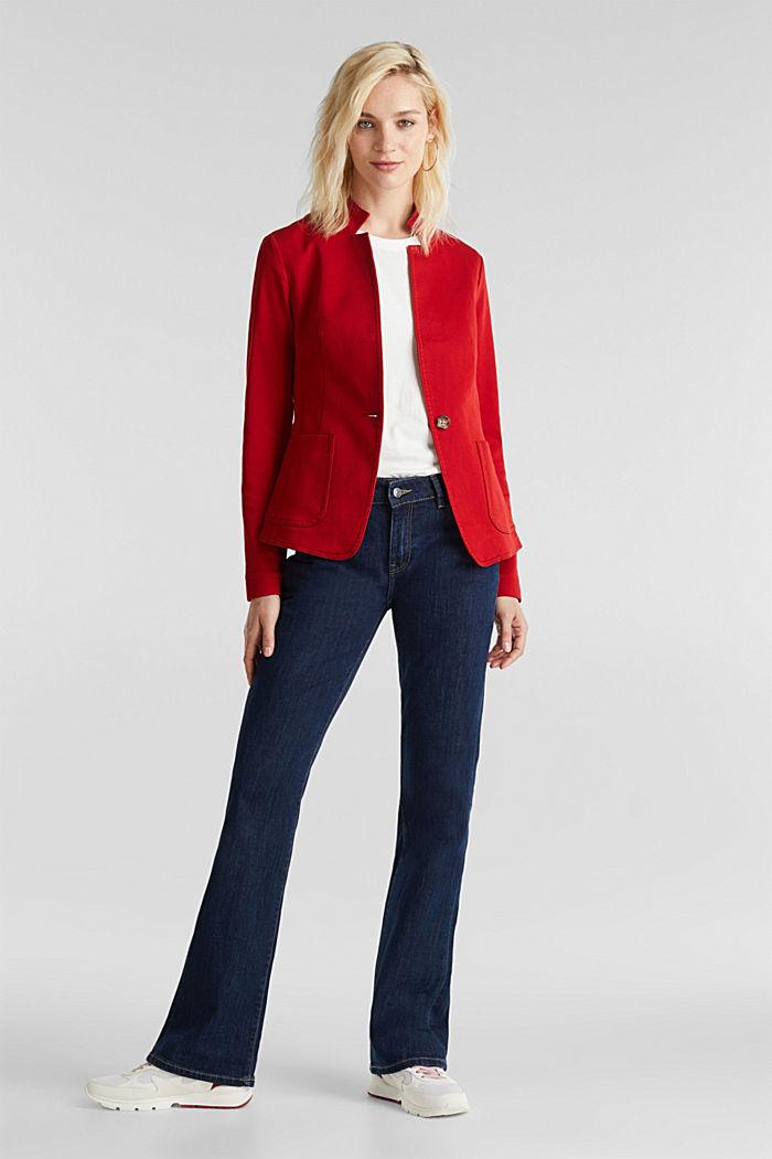Blazer with an adjustable collar, stretch cotton, DARK RED, detail image number 5